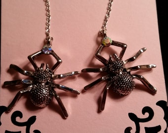 Spider Gemstone Dangle and Drop Earrings Gothic Emo