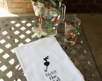 Funny tea towel, hostess gift, flour sack towel, turnip the heat tea towel, housewarming gift idea
