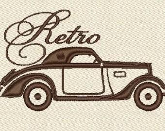 Retro car machine embroidery designs