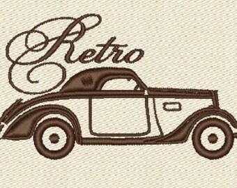 Retro car old classical machine embroidery designs