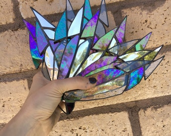 Single Mirrored Stained Glass Feather