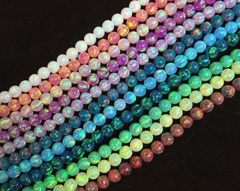 4MM rd beads synthetic opals in assorted colors