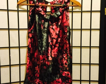 Red and Black Ruffled Silk Top - X-Small