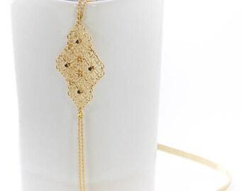 Headband Divine, jewel of head, hair, hairstyle, gilt fine gold, diamond