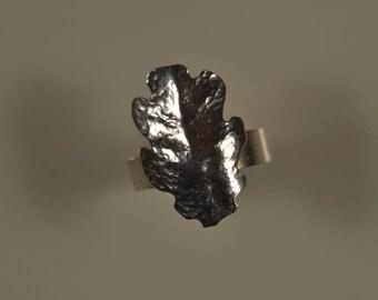 Oak leaf ring - silver