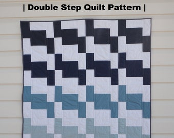 "PDF QUILT PATTERN- ""Double Step""- Easy, Modern Pattern"