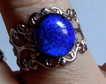 Silver Dichroic Fused Glass Adjustable Ring, Purple/Blue