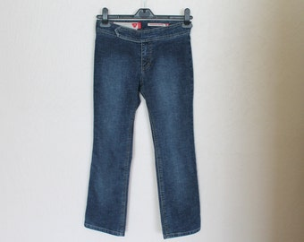 Vintage Guess Denim Girl Pants Jeans Zippered Dark Blue Girl's Jeans Vintage Girl's Streach Jeans