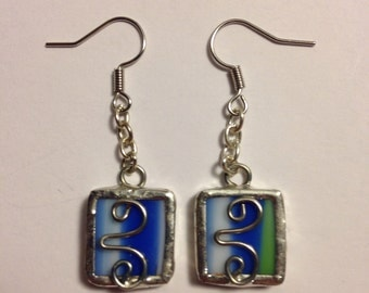 Blue, green and white stained glass earrings