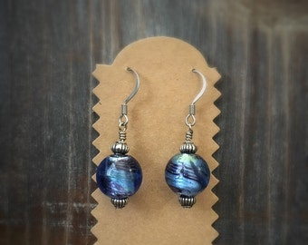 Blue glass bead earrings.