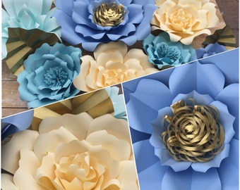 Blue and cream paper flower set of 10