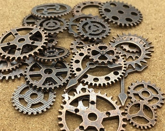 BULK 100 Mixed Antique Copper Steampunk Gear Charms Clockwork Cog Wheel Gearwheel Mechanical Watch Gear Clock Parts Decoration