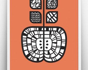 An Apple A Day print, orange poster, inspirational, typographic print, scandinavian design, graphic print