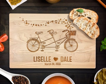 Custom Cutting Board Personalized Wedding Gift Bicycle Built For Two Cutting Board Romantic Bike Ride Sporty Classic Bike Chopping Block