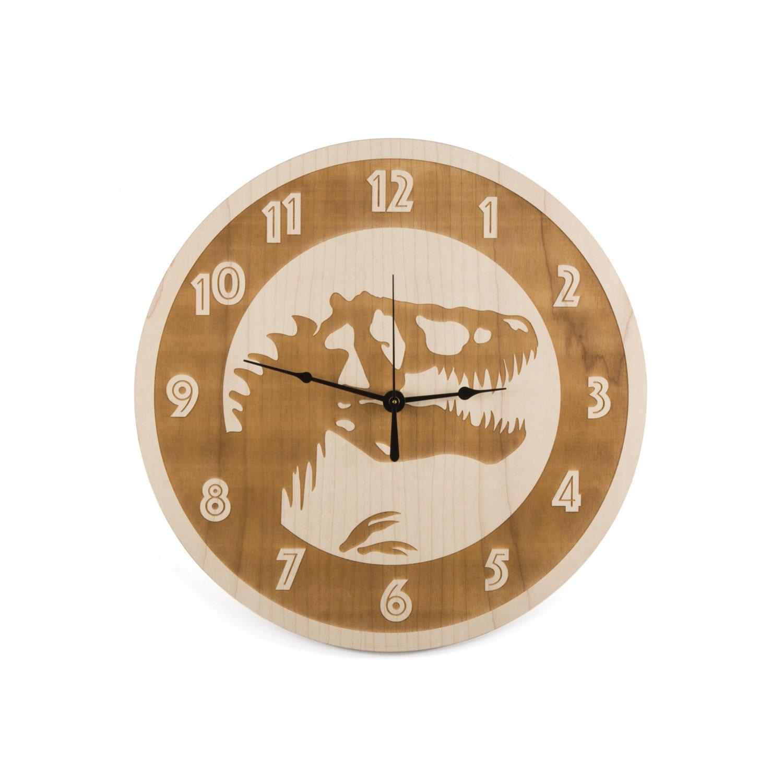 Kids room decor large wall clock maple wood trex clock for Kids room clocks