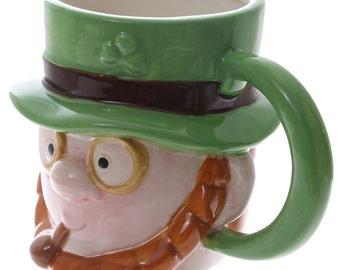 Coffee Mug Novelty Ceramic Leprechaun Head Cup Unusual Mug New Gift Ideas