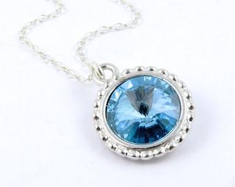 Aquamarine Necklace, March Birthstone Necklace, Aqua Crystal Necklace, Blue Necklace, March Birthday, Swarovski Crystal Birthstones