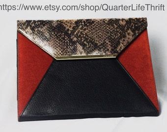 Camuto Vince Tablet Purse Case in Snakeskin Leather/Burnt Orange Suede