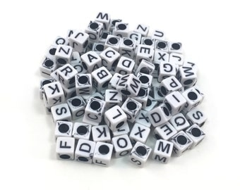 Letter Cube Beads Crossword Style - White and Black - 6mm