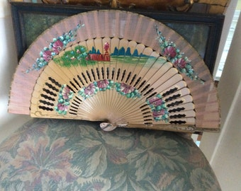 REDUCED! Vintage Hand Fan, Hand Painted Silk and Carved Wood