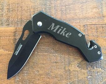 Black Pocket Knife W/ Glass Breaker. Personalized Groomsmen Gift. Engraved Knife. Groomsmen Gifts. Birthday Gift. Cheap Groomsmen Gift.
