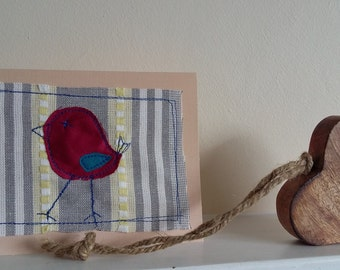 fabric bird stitched greeting card