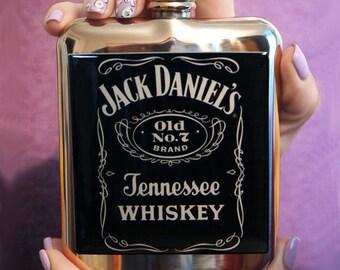 Jack Daniels FLASK - Flask, men hip flask, liquor flask, custom flask, accessory ,hip flask, groomsmen gifts, initials flask, birthday gift