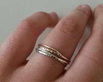 Silver and gold fine and modern hammered ring with 4 interlace rings. for woman