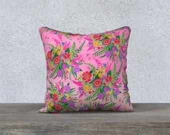 Boho Floral Burst, Throw Pillow Cover, Decorative Pillow Cover, Bohemian Home Decor, Colorful Pillow Case
