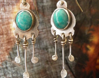 earrings with amazing  amazonite cabochons  sterling silver body & dangles
