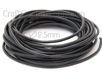 Black leather cord 2.5mm Natural leather cord Italian leather cord Jewelry supplies Jewelry cord Genuine leather round cord Craft project