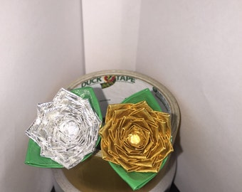 Gold or silver duct tape flower pen