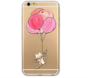 Clear Phone Case Cover For iPhone 6 6s Plus 6Plus 5 Transparent Pink iPhone Case, Cat iPhone Case, Kitten iPhone Case, Animal Iphone Ballons