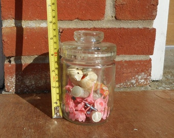 Glass storage jar 1960s/70s with contents!