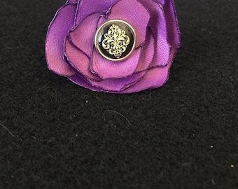 Purple satin flower adjustable fashion ring