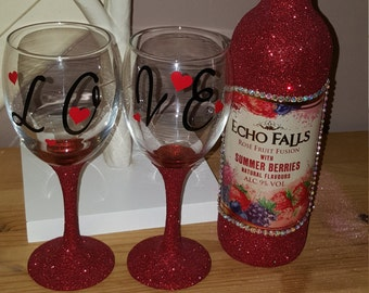 love set red glittered glasses and wine bottle made to order