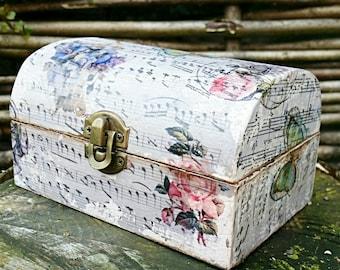 Shabby Chic Jewellery Box, Rustic, Decorative Box, Keepsake Box, Wooden Box, Vintage, Decoupage Box, Tea Box, Handmade, Floral, Music Notes