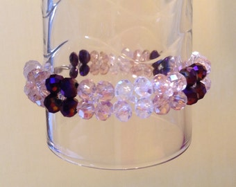 Clear, pink and purple beaded bracelet with swarovski beads