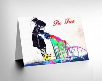 Graffiti Card - Be Free Gift Photo Graffiti Street Wall With Paint CL1792