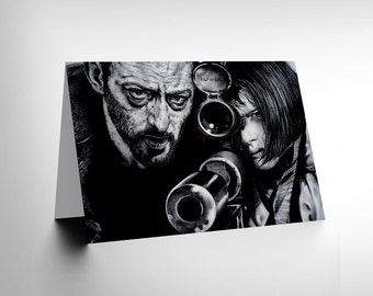 GREETINGS CARD Leon Jean Reno Natalie PORTMAN Art by W Maguire CL1902