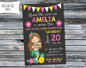 Girls Luau Birthday Invitation / Luau Invitation (Personalized) Digital Printable File