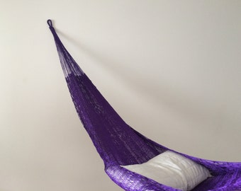 Hammock 1-2 persons nylon handmade from Mexico violet