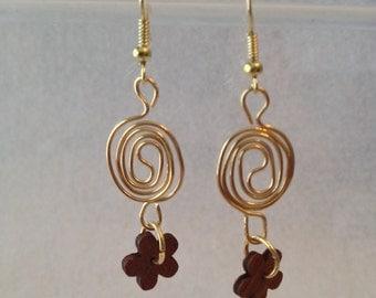 Swirls with flowers earrings