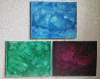 Untitled Abstract Painting Set of 3 8x10 Acrylic on Canvas Panel