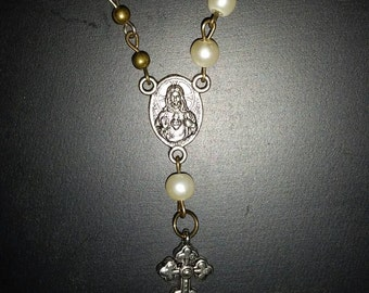 Sacred Heart Rosary necklace in brass