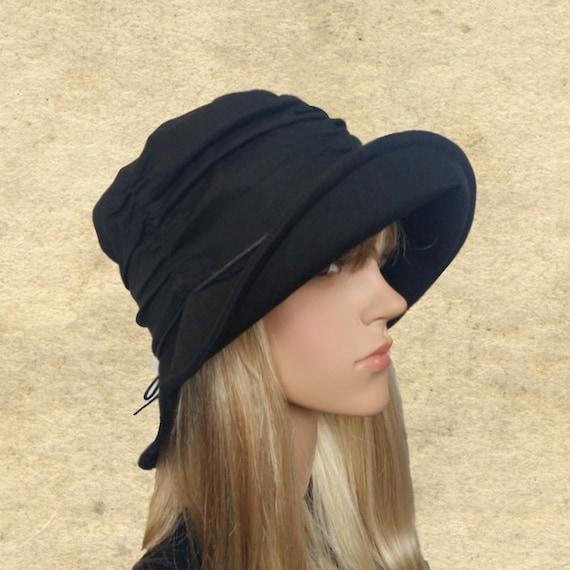 black cotton sun hat wide brim hats cotton floppy by
