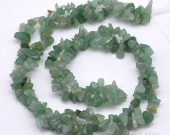 Aventurine beads, 5-7mm chips, irregular gemstone beads, green aventurine gem strand, genuine gem stone necklace, jewelry beads, AVT4010