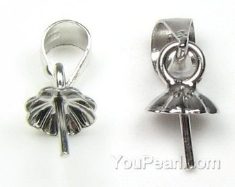 925 sterling silver pendant bail, pearl bail connector, 4mm, 5mm cup with peg necklace bails,  silver findings for jewelry making, FD1250