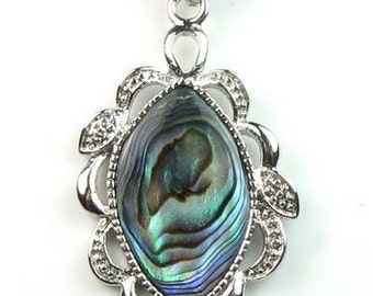 Abalone shell pendant, oval shape shell pendant, leather cord paua shell necklace, abalone necklace, paua abalone jewelry, SH1445-AP