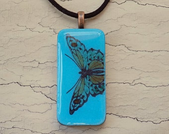Butterfly Pendant Necklace, Blue Pendant, Stamped Jewelry, Domino Pendant